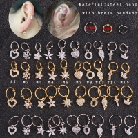 Sellsets New  1piece gold heart hexagon crystal tragus daith earrings helix cartilage hoop septum nostril piercing jewelry