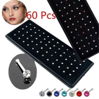 60 pieces/pack Stainless Steel Crystal Nose Ring Set Women Girl Surgical Steel Nose Piercing Crystal Nose Stud Lot Body Jewelry