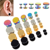 2Pcs Gold Black Stainless Steel Cheater Faux Fake Ear Plugs Flesh Tunnel Gauges Tapers Stretcher Earring 6-14mm