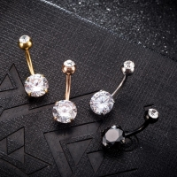 Sexy Women Gold Navel Piercing Belly Button Body Jewelry Crystal Zircon Rhinestones Round Body Ring Mini Navel Nail Jewelry