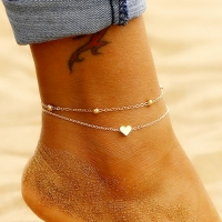 Simple Heart Ankle Layering Pendant Anklet Beaded Foot Jewelry Summer Beach Anklets On Foot Ankle Bracelets For Women Leg Chain