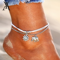 Vintage Multiple Layers Anklets For Women Retro Elephant Sun Pendant Foot Jewelry Barefoot Sandals Ankle Bracelet on the Leg New