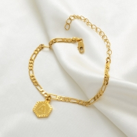 Length 22cm + 10cm Extender Chain/Gold Color Initial Letters Anklet for Women Fashion Alphabet Jewelry Gifts #J0101