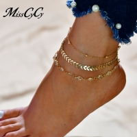 MissCyCy Fashion Crystal Anklet Set Vintage Handmade Ankle Bracelet for Women Party Summer Beach Accessories 3Pcs/Set