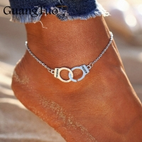 L018 Hot Sale Vintage Silver Color Handcuffs Anklets for Women Bohemian Freedom Ankle Bracelet on the Leg Barefoot Party Jewelry
