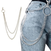 1PC Long Trousers Hipster Key Chains Punk Street Big Ring Metal Wallet Belt Chain Pant Keychain Unisex HipHop Jewelry Nice Gift