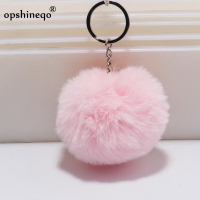 Key Chain Fur ball pom pom Keychain Pompom Artificial Rabbit Fur Animal Keychains For Best Friend Car Bag Key Ring 14 colors