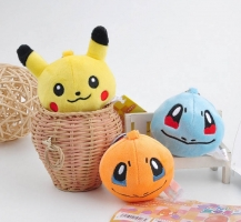 7cm Hot Selling Fashion key chains Pikachu Bulbasaur Charmander Snorlax Squirtle Keychain Keyring Pendant For Backpack Bags