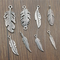 15pcs/lot Feather Charms Feather Pendants Jewelry Making Feather Charms For Bracelet Making Antique Silver Color