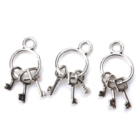 10pc/lot 25mm x14mm Keys Charms Antique Silver Tone Cute for necklace pendant charms diy jewelry making