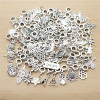 New Mix 50pcs Vintage Charms European Bead Charm fit for pandora style Bracelets Necklace DIY Metal Jewelry Making