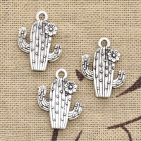 8pcs Charms Desert Cactus Flower 20x15mm Antique Bronze Silver Color Plated Pendants Making DIY Handmade Tibetan Finding Jewelry