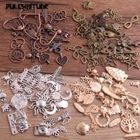 PULCHRITUDE 20pcs Vintage Metal 4color Mix Size Random 20-200 Style Charms Pendant for Jewelry Making Diy Handmade Jewelry P6664