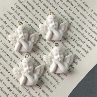 5pcs White Wing Angel 3D Resin Charms For Jewelry Findings Cute Girl Necklace Pendant Eardrop Earrings Accessory F348