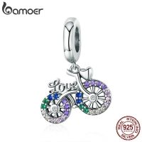 BAMOER 925 Sterling Silver Crystal Bike Bicycle Shape Pendant Charms fit Original Bracelets & Necklaces DIY Jewelry Gift SCC1082