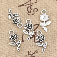 15pcs Charms Flower Rose 21x13mm Antique Making Pendant fit,Vintage Tibetan Bronze Silver color,DIY Handmade Jewelry