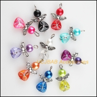 New 10Pcs Mixed Glass Acrylic Dancing Angel Wings Flowers Charms Pendants 14x22mm