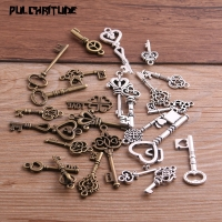 PULCHRITUDE 10pcs Vintage Metal Mixed Two color Small key Charms Pendants For Jewelry Making Diy Handmade Jewelry P6666
