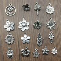 20pcs/Lot Flower Charms Antique Silver Color Sunflower Charms Jewelry DIY Daisy Charms For Bracelet Making