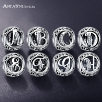 Dropshipping ANFASNI Real 925 Sterling Silver Vintage Clear Letter Bead Charms Fit Pandora Women Charm Bracelets Silver Jewelry