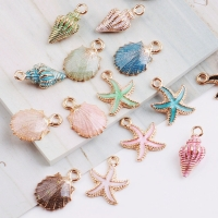 MRHUANG 10pcs Coloful Nautical Ocean starfish Shell Conch Sea Enamel Charms DIY Bracelet Necklace Jewelry Accessory DIY Craft
