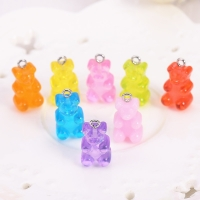 32pcs  Bear Charms Resin Cabochons Glitter Gummy  Candy Transparent Color  Necklace  Keychain Pendant  DIY Making Accessories