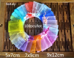 100pcs/lot Organza bag  5x7cm/ 7x9cm/ 9x12cm  Wedding Christmas Birthday Party Gift Bags A variety of solid colors pouchs