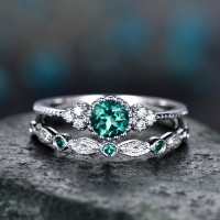 2Pcs/Set 2018 Luxury Green Blue Stone Crystal Rings For Women Sliver Color Wedding Engagement Rings Jewelry Dropship bagues pour