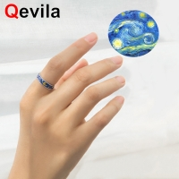 Qevila New Arrival S925 Silver Rings for Women Men Van Gogh Starry Night Moon Adjustable Paired Lovers' Ring Wedding Party Gifts