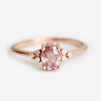 Dainty Pink Oval Crystal Ring for Women Simple Style Engagement Finger Love Ring Ladys Fashion Wedding Rings Jewelry Gifts Bague
