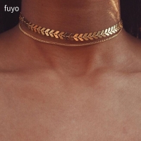 Multi Arrow choker Necklace Women Two Layers Necklaces Collares Fishbone Airplane Necklace Flat Chain Chocker On Neck Jewelry