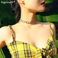 Ingemark Korean Sweet Love Heart Choker Necklace Statement Girlfriend Gift Cute Silver Color Necklace Jewelry Collier Femme 2020