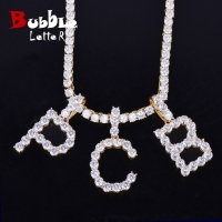 Zircon Tennis Letters Necklaces & Pendant For Men/Women Gold Color Fashion Hip Hop Jewelry with 4mm Tennis Chain