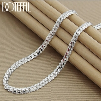 DOTEFFIL 925 Sterling Silver 6MM Full Sideways Necklace 20 Inch Chain For Woman Men Fashion Wedding Engagement Party Jewelry