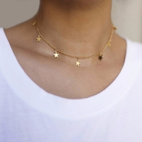 2020 New Fashion Drop 7 Star Choker Necklace Gold Star Necklace L114