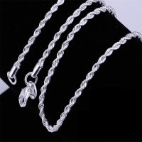 Hot sale Retail Wholesale silver Necklace Women Man necklace 2mm16,18,20,22,24 inch Twist Rope Chain jewelry accesory 925 stamp