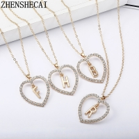 2020 Simple gold Color love heart necklaces & pendants double Rhinestone choker necklace women statement jewelry Bijoux x1