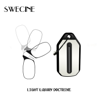 SWECINE Clip Nose Reading Glasses  Mini Folding Reading Glasses Men and Women's Easy Carry With Key Chain Case Prince-nez glass