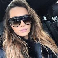 Kim Kardashian Sunglasses Women Vintage Retro Flat Top Oversized Sun Glasses Square Pilot Luxury Designer Large Black Shades