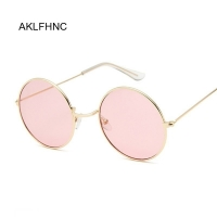 2019 Retro Round Pink Sunglasses Women Brand Designer Sun Glasses For Women Alloy Mirror Female Oculos De Sol Black