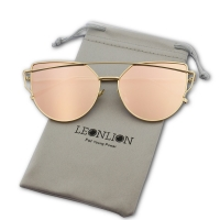 LeonLion Brand Designer Cat eye Sunglasses Women Vintage Metal Reflective Glasses For Women Mirror Retro Oculos De Sol Gafas