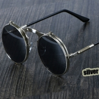 3057 Steampunk Sunglasses Round Metal Women Style Retro Flip Circular Double Metal Sun Glasses Men CIRCLE SUN GLASSES