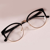 Hot Style Anti-Radiation Goggles Plain Glass Spectacles Fashion Women Metal+Plastic Semicircle Frame Glasses Plain Glass