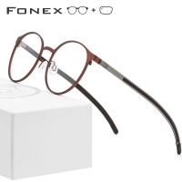 FONEX Alloy Optical Prescription Glasses Frame Men Ultralight Retro Round Myopia Eyeglasses Women Metal Full Screwless Eyewear