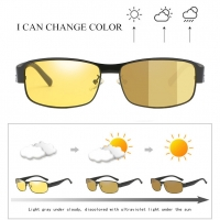Square Photochromic Lens Polarized Men's Day&Night Vision Driving Sunglasses, Male Anti-Glare Metal Sun Glasses  With Case S158