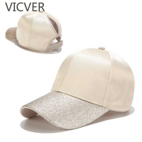 New Ponytail Baseball Cap Women Glitter Brim Trucker Caps Fashion Ladies Solid Color Satin Dad Hats Casual Summer Snapback Hat