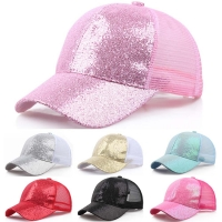 Women Girl Ponytail Baseball Cap Sequins Shiny Messy Bun Snapback Hat Ladies Sports Caps Summer Mesh Hat Female Hip Hop Caps