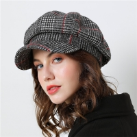 Women Baseball cap For Winter Female Cotton Hats Plaid Vintage Fashion Octagonal Casual boina Autumn 2019 Brand New Women's Caps