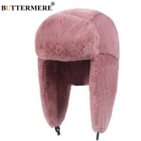 BUTTERMERE Fur Caps Women Bomber Hats Pink Winter Hat Russian Female Thicker Warm Solid Soft Windproof Ear Flap Ushanka Hat 2020