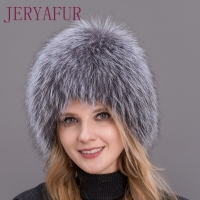 Hot Sale 100% Natural Silver Fox Fur Women Winter Hat Knitted Cap Women Hat Fox Fur Bomber Hat Female Ear Warm Winter Must